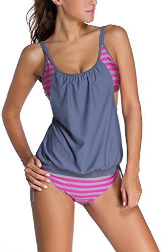 Women Striped Bikini Swimsuit Tankini Top ()