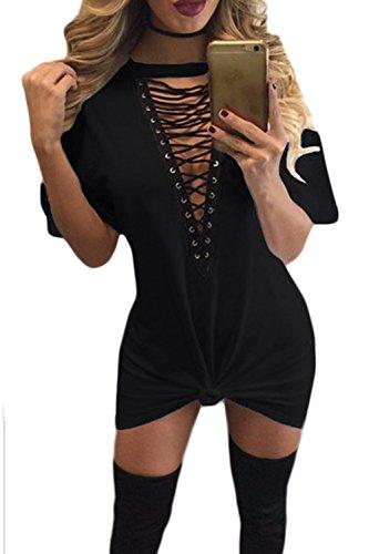 Lettre d'amour Frauen Tiefe V - T - Shirt - Mini - Kleid Mit Spitze An Oesen. Black eU3nwg5BVd
