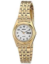 Seiko SUT118 Women's Stainless Solar Gold Bracelet Band White Dial Watch