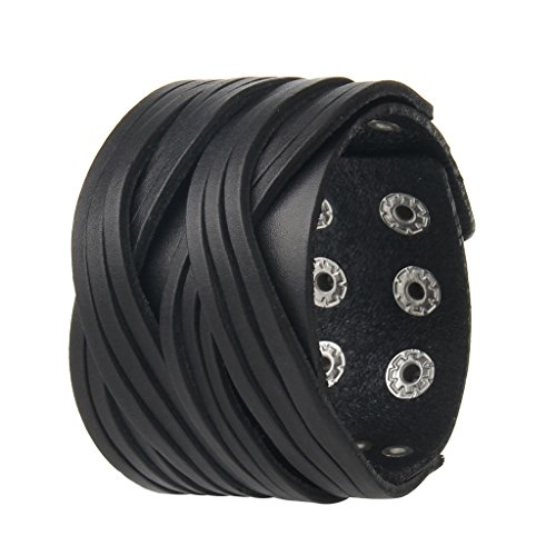 AZORA Punk Leather Bracelet Handmade Cuff Bangle Braided Wristband Adjustable Bracelets for Men,Kids,Boys,Women ()