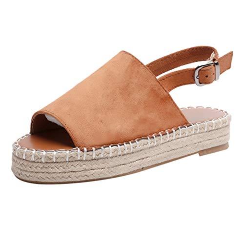 - Women Rome Sandals Platform Peep Toe Woven Buckle Strap Flat Thick-Bottom Shoes Brown