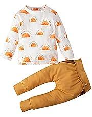 Kinderkleding baby meisjes jongens zon T-shirt tops geribbelde broek outfits set 0-4 jaar oud
