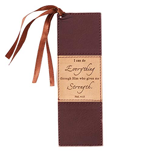 I Can Do Everything Brown LuxLeather Pagemarker / Bookmark - Philippians 4:13