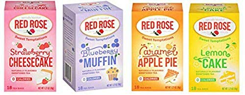 Red Rose Sweet Temptations Herbal Tea 4-Pack Gift Set - Caffeine Free - Includes Strawberry Cheesecake, Lemon Cake, Blueberry Muffin, Apple Pie! Your Favorite Desserts In A Delicious Drink!