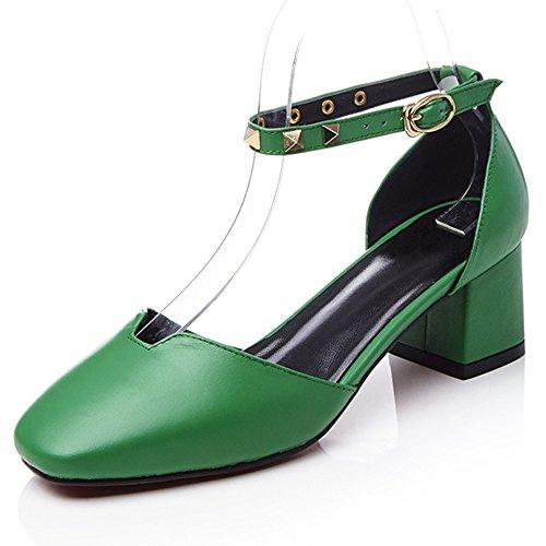 Nine Seven Moda Cuero Puntera Cuadrada Zapatos de Tacón Grueso con Correa de Tobillo para Mujer Verde