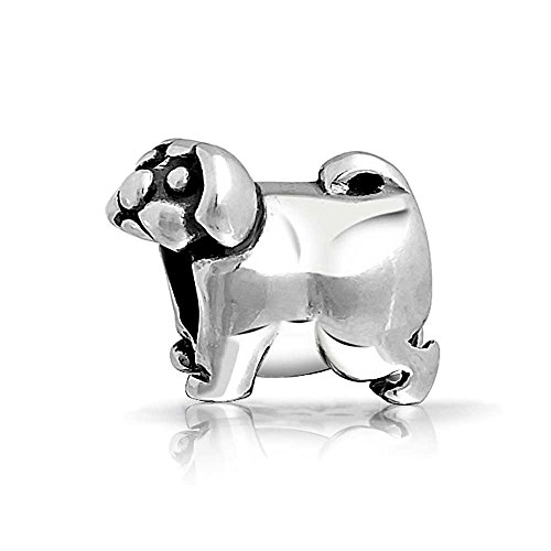 Pug Dog Animal Charm Bead .925 Sterling Silver (Sterling Silver Pug)