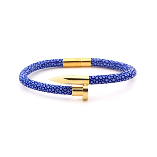 WZH Blue Stingray Genuine Leather Cord with High Polished Gold Nail Bracelet (8.5 inches) (Childs Polished Bangle)