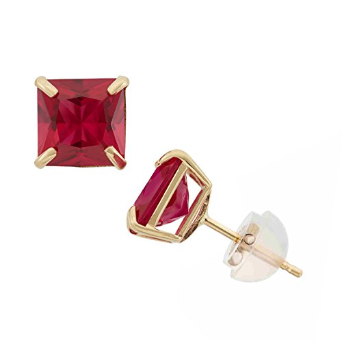 Created Ruby Princess Cut Stud Earrings in 10K Yellow Gold, 6mm, Comfort ()