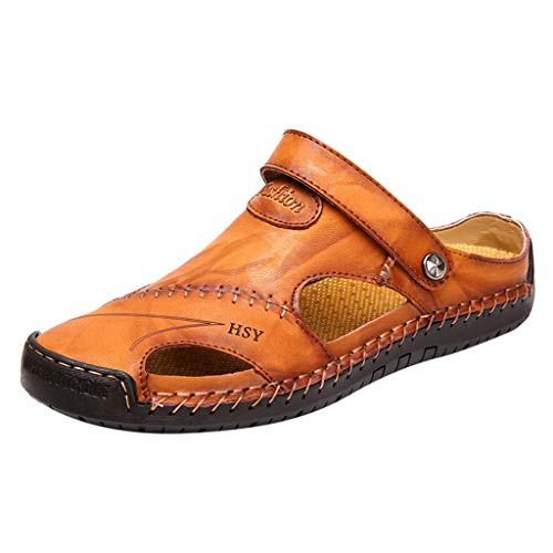 Leather Sandals for Men 2019 New Casual Lightweight Hiking Beach Water Shoes (US:9.5, Yellow)