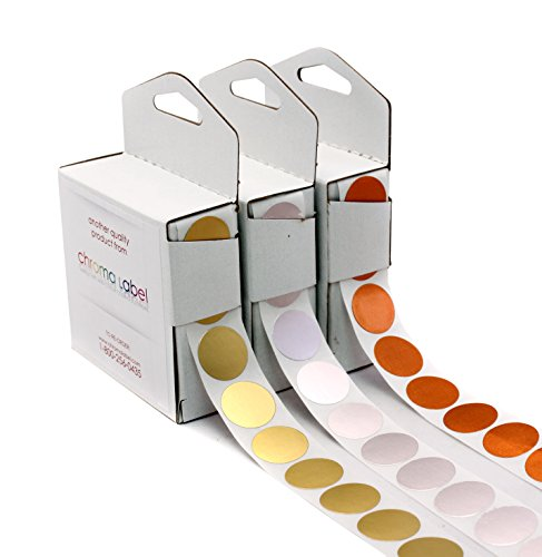 "3/4"" Assorted Gold, Silver & Bronze Dot Stickers Variety Kit - 1,000 Shiny Metallic 0.75 in. Labels per Dispenser Box (3,000 Foil Dots Total)"