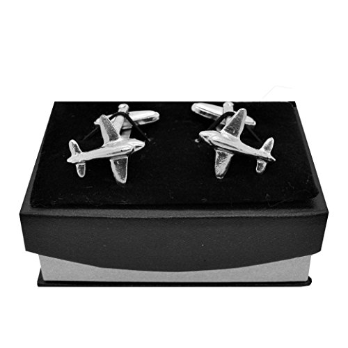 Luxury Handmade Fine Pewter DC3 Plane Cufflinks, by William Sturt Fine Pewter (Plane Pewter)