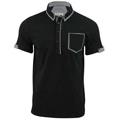 Xact Clothing - Polo - con botones - Manga corta - para hombre negro