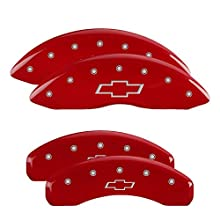 MGP Caliper Covers 14005SBOWRD 'Bowtie' Engraved Caliper Cover with Red Powder Coat Finish and Silver Characters, (Set of 4)