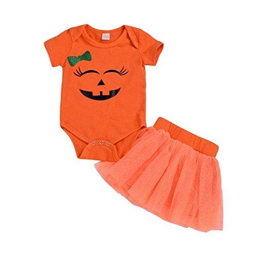 Hatoys Halloween Romper Cute Baby Girls Bodysuit Jumpsuit Pumpkin Rompers + Skirt Costume Outfits Set (12M(Height:75-80CM), Orange) for $<!--$11.00-->
