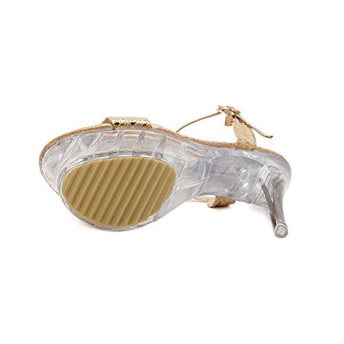 OCHENTA Mujer Punta abierta del estilete del alto talon de la correa del tobillo de la sandalia Dorado