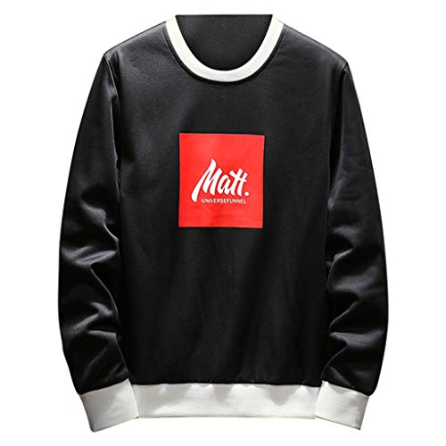 HTDBKDBK Sweatshirt for Men, Fashion New Long-Sleeved Round-Necked Guard Fashion Personality Pullover Blouse Loose Tops ()