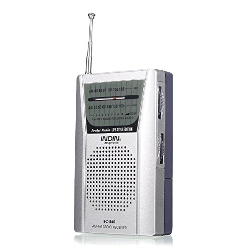 QOJA indin bc-r60 mini pocket portable am/fm receiver radio player by QOJA