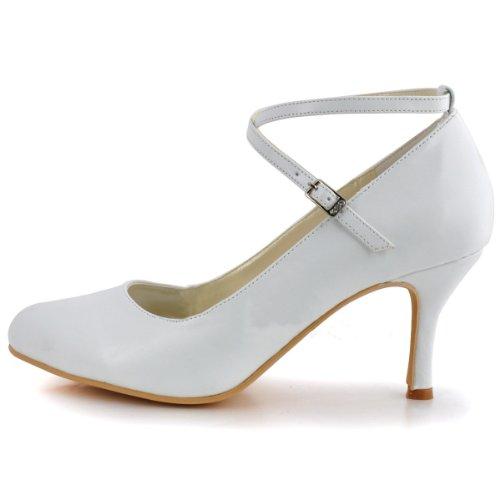Raso Sposa Mary Donne Da Alto Pompa Scarpe Punta Fibbia Minitoo Jane Rotonda Tacco Da Sposa Bianchi X6qwfxT7