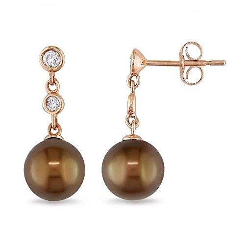 Brown Tahitian Pearl Earrings (Brown Tahitian Pearl and Diamond Drop Earrings 14k Rose Gold)
