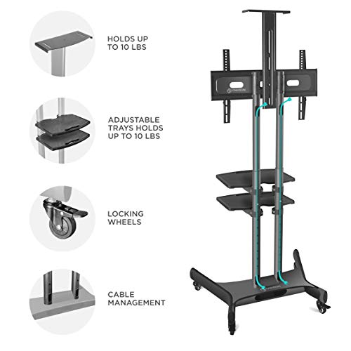 ONKRON Mobile TV Stand with Wheels Rolling TV Cart for 55 to 80 Inch LCD LED Flat Panel TVs (TS1881) by ONKRON (Image #4)