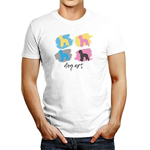 Idakoos Irish Water Spaniel Dog Art T-Shirt L -
