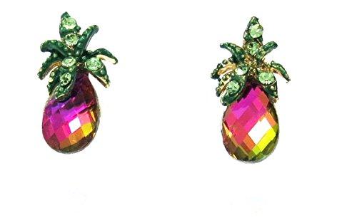 New Pineapple Austrian Crystal Gold Tone Stud Earrings