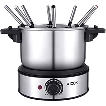 Fondue Aicok Electric Fondue Set Stainless Steel Fondue Pot, Melting Pot for Cheese Chocolate, including 8 Forks and Fork Holder, 1.4L, 1500W