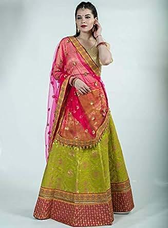 Pankhudii Green & Pink Embroidered Semi-Stitched Lehenga Set (1155)