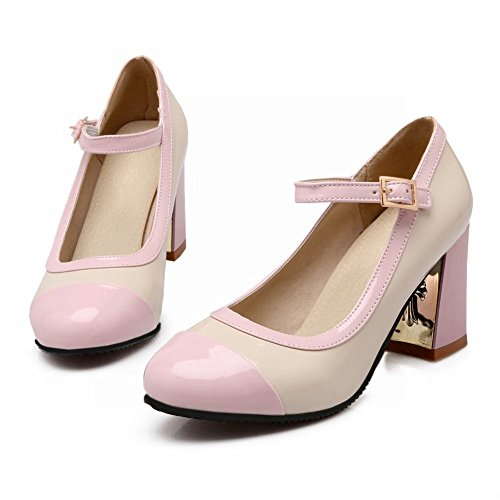 Charm Foot Womens Fashion Multicolor Chunky High Heel Ankle Strap Pump Shoes Pink XPEYGZXq91