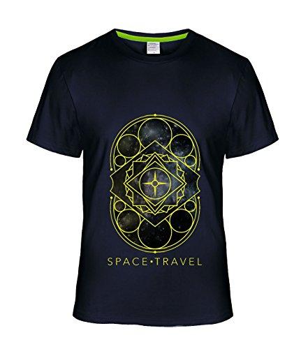 [Eagle u2 Men's couple short sleeve T-shirt Space Travel navy] (Mens Disco Jumpsuit)