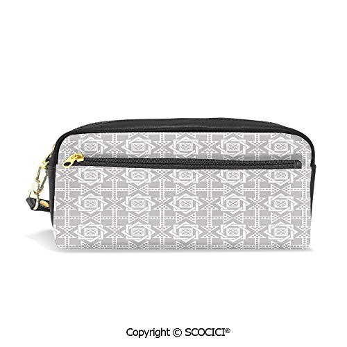 PU Leather Student Pencil Bag Multi Function Pen Pouch Abstract Repeating Pattern with Floral Squares Frames and Dotted Cross Arrows Office Organizer Case Cosmetic Makeup Bag