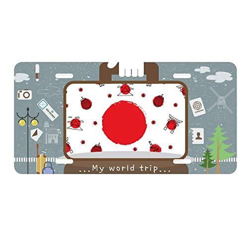 DIYthinker Japan Culture National Flag Lantern License Plate Car Decoration Tin Sign Travel (National Stainless Japan)