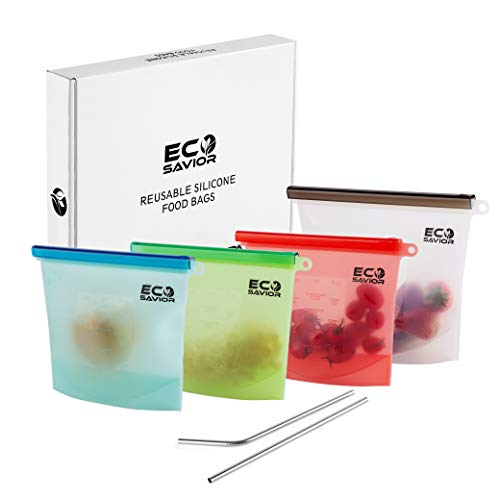 Reusable Silicone Food Storage Bags | Reusable Ziploc Sandwich Bags | Snack & Lunch Bag | Zero Waste Freezer Bags | Eco Friendly & Dishwasher Safe Zip Top Containers | Set of 4 + Bonus Steel Straws ()