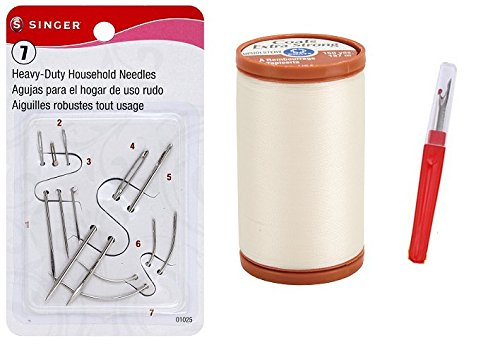 Singer Assorted Hand Needles with Coats & Clarks Natural Thread and a Seam Remover by Elm Tree