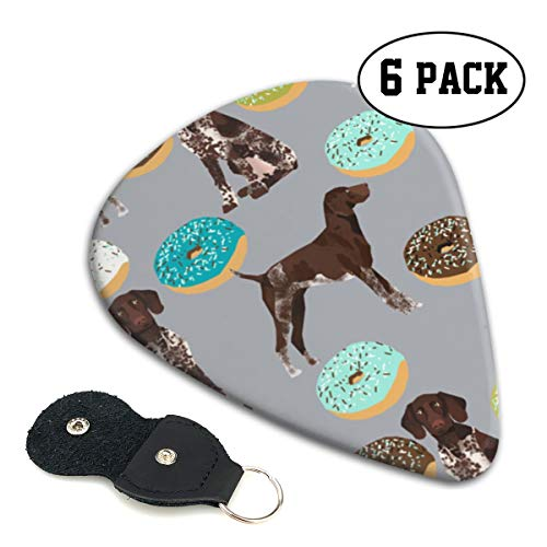 (LXXTK Unique German Shorthaired Pointer Donuts Celluloid Guitar Pick 6 Pack - Music Gifts for Bass, Electric & Acoustic Guitars)