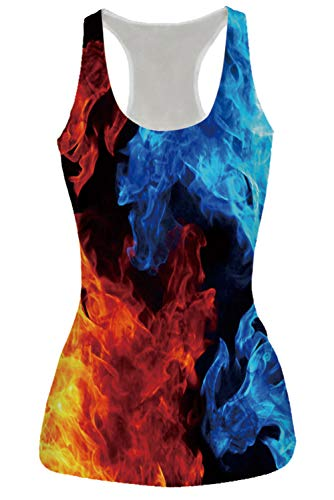 Women's Sleeveless Shirts Colorful Smoke Blue Fire Print Casual Racerback Tank Tops