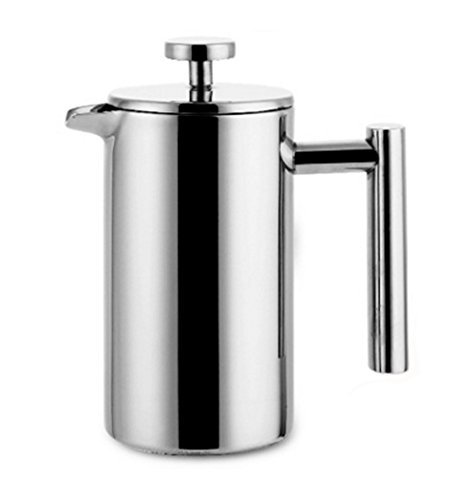Iremico 3-Cup/12 oz Stainless Steel French Press Double Wall Tea or Coffee Maker, Coffee Plunger with Filter