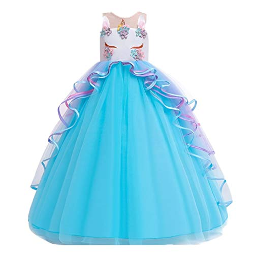 MYRISAM Girl's Unicorn Princess Rainbow Long Tulle Dress Wedding Birthday Carnival Party Performance Dance Pageant Ball Gowns Blue 14-15T -