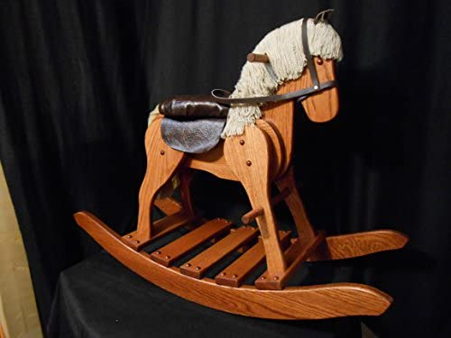 木製Medium Rocking Horse Hobby HorseソリッドOak Kids Toy Harvest Stain Amish