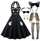 Women A-line Dress Lace Cat Ears Headband with Choker Fingerless Gloves Set (L, Style-1 Black)
