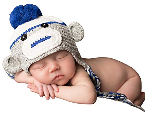 Melondipity's Blue and Grey Baby Boy Sock Monkey Crochet Hat (6-12 months)