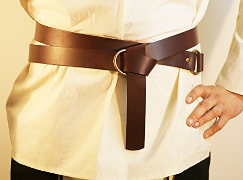 Medieval-LARP-Reenactment-Viking-Battle Ready BROWN LEATHER WRAP AROUND KNIGHTS BELT 2