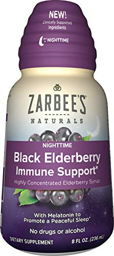 Zarbee's Naturals Nighttime Black Elderberry Immune Support Highly Concentrated Syrup with Melatonin