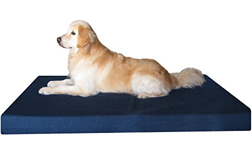 Dogbed4less Heavy Duty XXL Orthopedic Gel Memory Foam Pet Bed with Waterproof Internal Case 2 Washable Denim External Cover for Larger Dog