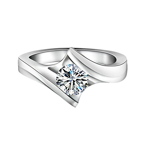 925 Sterling Silver Ring Proposal Ring With Round Cubic Zirconia Size 9.5 (Belt Buckle Cubic Zirconia Letter)