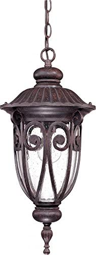 Nuvo 60 2068 Hanging Lantern with Clear Seeded Glass, Burlwood