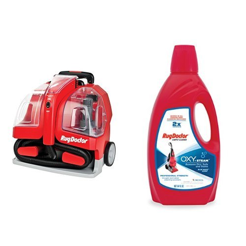 Rug Doctor Portable Spot Cleaner Machine, Red - Corded and Rug Doctor Oxy Pro Carpet Cleaner,64oz Bundle