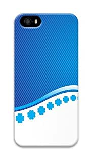 Blue Stripes And Flower PC Case Cover for iPhone 5 and iPhone 5s 3D
