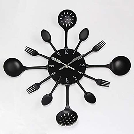TOYS 3D Reloj De Pared De Metal con Silencioso Reloj De Cubiertos, Reloj De Pared, Diseño Cubertería, Diseño Reloj De Cocina Cubiertos Reloj Reloj Pared Decorativa Reloj,5: Amazon.es: Hogar