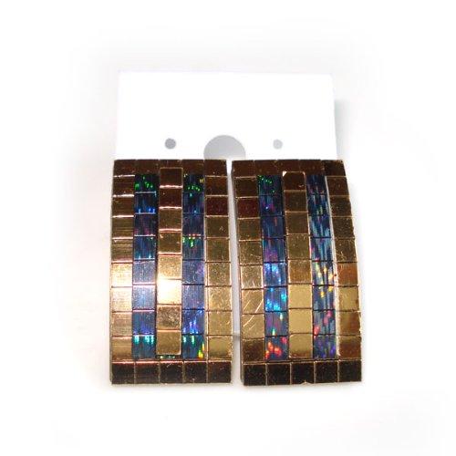 [Idin Stud Earrings - Gold tone rectangle stud earrings (15 x 30 mm)] (70s Jewellery Disco)